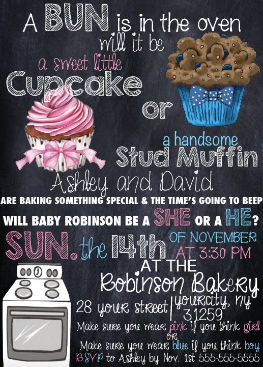 Cupcake or Stud Muffin Gender Reveal by StayClassyDesign on Etsy