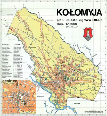Kołomyja plan miasta wedlug stanu z 1939 roku | Kołomyja