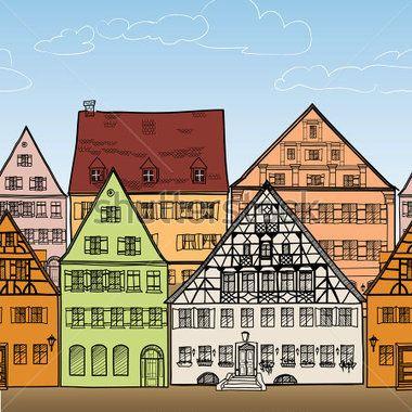 Domy bezešvé hranice.  Staré město panoráma. Starobylé budovy rám. Přeřízl jsi město. Ručně kreslenou vektorové ilustrace.