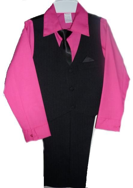Boys Black Suit with Fuschia Shirt www.boyssuitsandtuxedos.com www.wearmeoutkids.com www.boutiqueforbaby.com