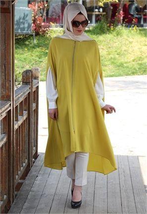 Hijab Fashion 2016/2017: Beyhan Fermuarlı-Kolsuz Tunik-Yağ Yeşili-1561