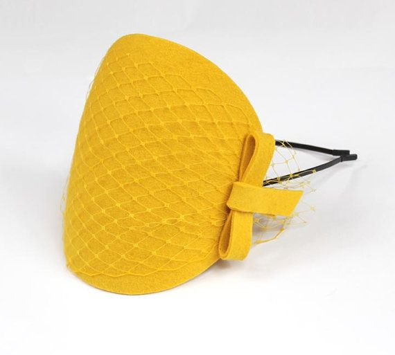 Yellow Fascinator with Veil and Bow by kagikagi on Etsy, $30.00