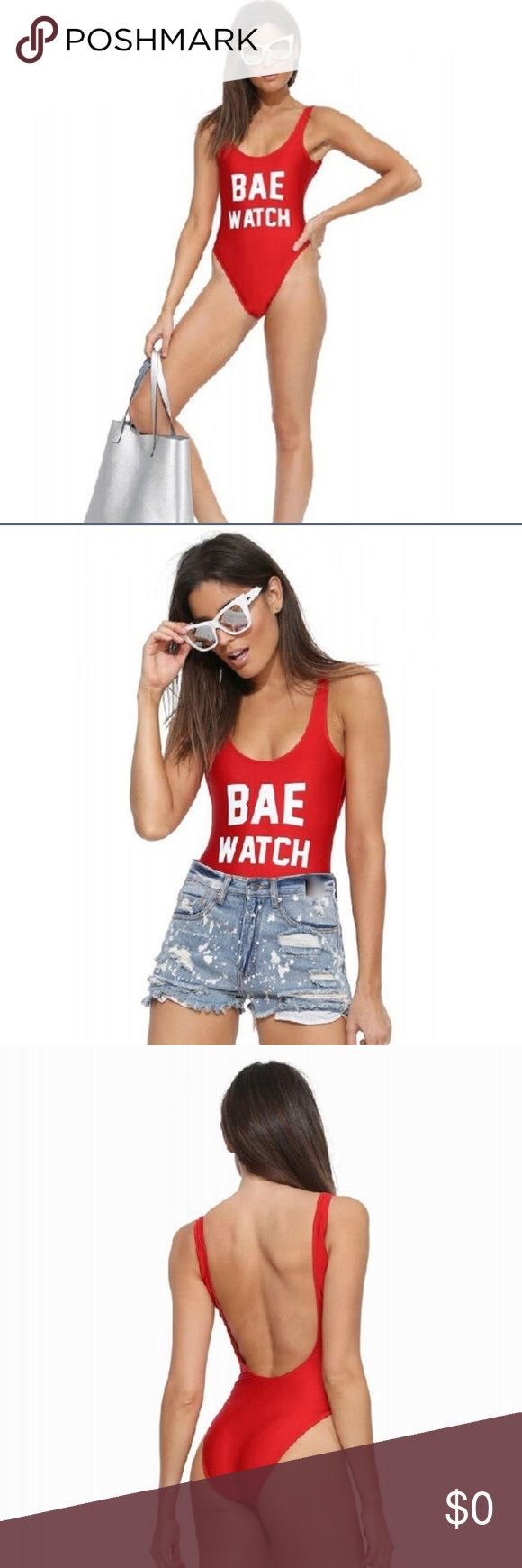 "Now available!  ""Bae"" Watch one piece! ☀️ Fun ""Bae Watch"" 1 piece swimming suit! Perfect for when you are at the beach or pool or just tanning and watching ""baes""  Comes with optional pads. Swim One Pieces"
