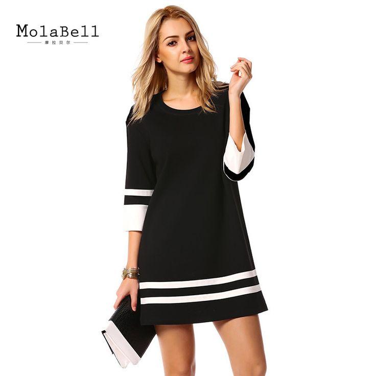 Купить товарMolabell мода элегантных женщин дамы черное платье свободно о образным вырезом три четверти рукав платья свободного покроя женской одежды в категории Платьяна AliExpress.