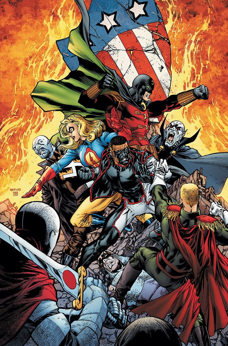 """#Justice #Society #Of #America #Fan #Art. (Justice Society of America. Fatherland, Chapter Four. """"Our Last Best Hope"""" Vol.3 #39 Cover) By: Jesús Merino & Allen Passalaqua. ÅWESOMENESS!!!™ ÅÅÅ+"""