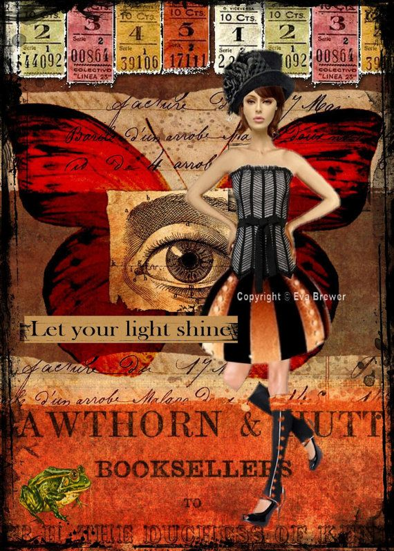 Let your light shine  original collage altered art steampunk collage print via Etsy