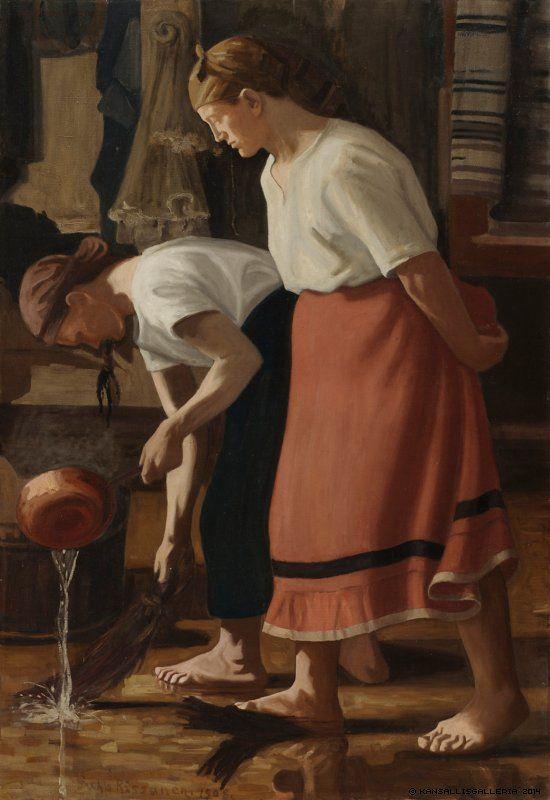 Juho Rissanen (1873-1950) Lattianpesijät / Scrubbing the Floor 1908 - Finland