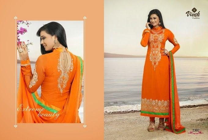 Orange Designer Long Length Salwar Kameez