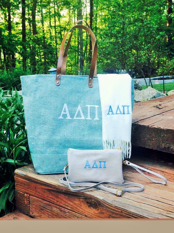 Sorority Gift Monogram Bag Set / Greek Bid Day Bags / Big Little Gift