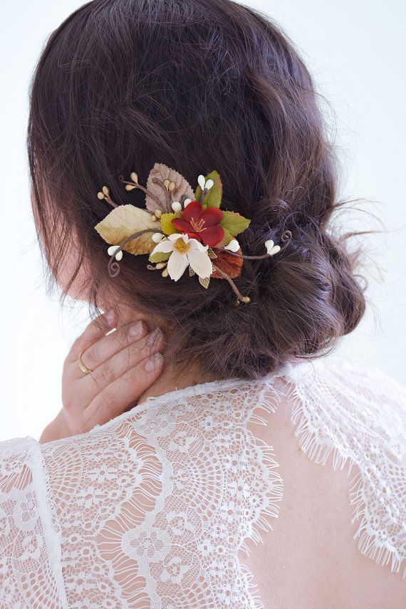 Vallen bruiloft clip val bruiloft haaraccessoires, val haar clip, herfst bruiloft hair clip, val zendspoel, val haartoebehoren - ALLMA