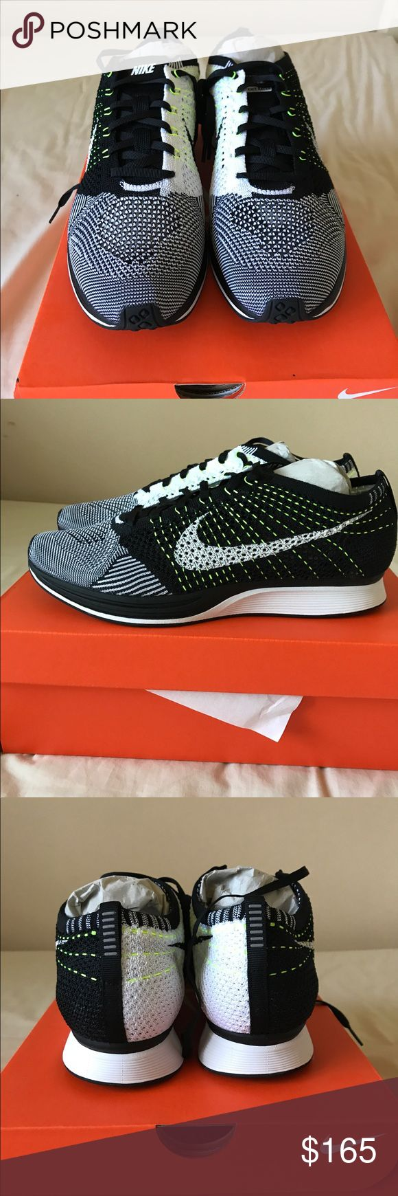Nike Flyknit Racer Black/White/Volt This is a brand new pair of Nike Flyknit racer. The shoe size is 11. The color of the shoe is black/white and Volt. Nike Shoes Athletic Shoes