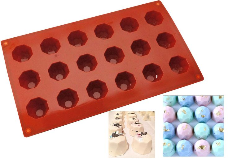 1 x Silicone Mould Gem Diamond Red Baking Chocolate Candy Jelly Mold 18 Cavity