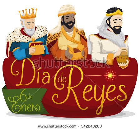 """Colorful poster with the Three Wise Men holding their gifts over a sign with greeting message in Spanish for """"Dia de Reyes"""" or Epiphany with date in January 6."""