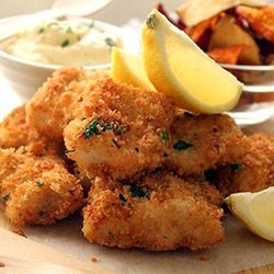 Parmesan and lemon crumbed hake goujons