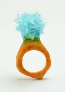 mixed media rings  by wenhui-li    made from salt crystals grown on rings