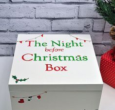 Handcrafted Wooden Christmas Eve box to keep Christmas eve treats inside! Create a wonderful tradition to surprise your child with a magical