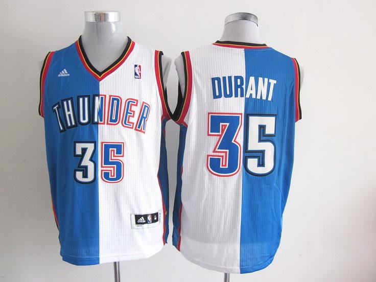 3307701cb2ad 20.99 NBA Oklahoma City Thunder DURANT 35 Mens Adidas Split Jerseys White  Blue ...