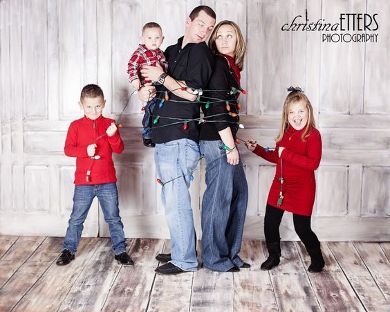 family christmas photo, kids wrap parents in lights | Family and ...