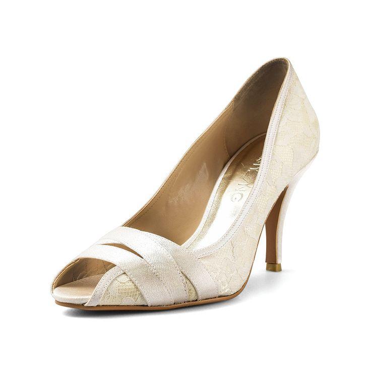 Kal Ivory Heels, Ivory Lace Peep Toe Heels, Off White Wedding Heels, Ivory Lace Bridal Shoes by ChristyNgShoes on Etsy