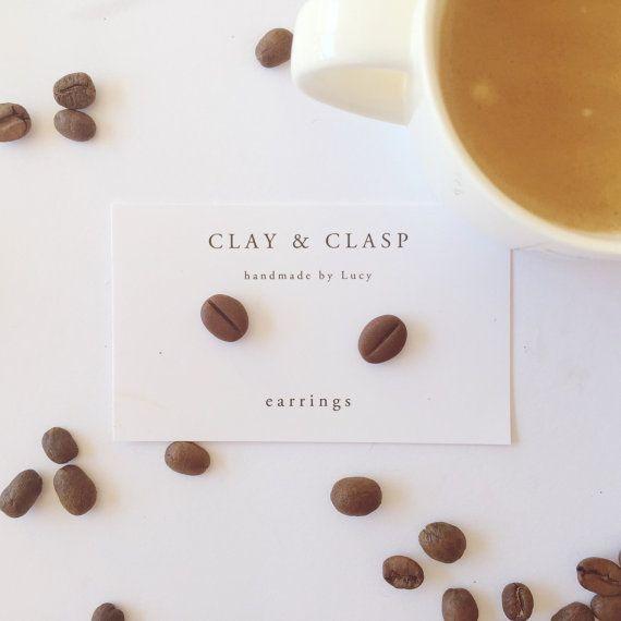 Coffee Bean Earrings - beautiful handmade polymer clay jewellery by Clay &…