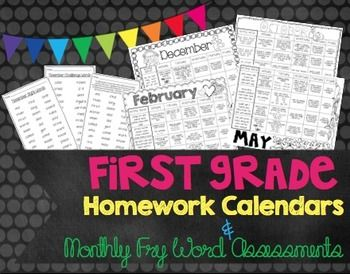 Common Core based Homework Calendars for September-May AND monthly high frequency word assessments using the first 340 FRY words!  I love that there are challenge words each month as well!