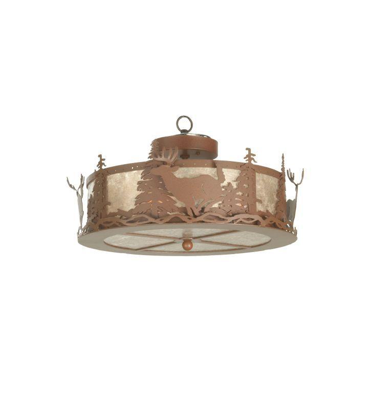 Meyda Tiffany 81474 Three Light Down Lighting Fan Light Kit from the Deer Collec Craftsman Brown Ceiling Fan Accessories Light Kits Light Kits