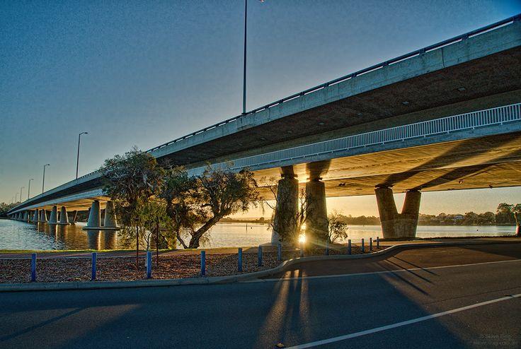 #sunrise through the Mt Henry Bridge #MtPleasant #Perth #thisisWA