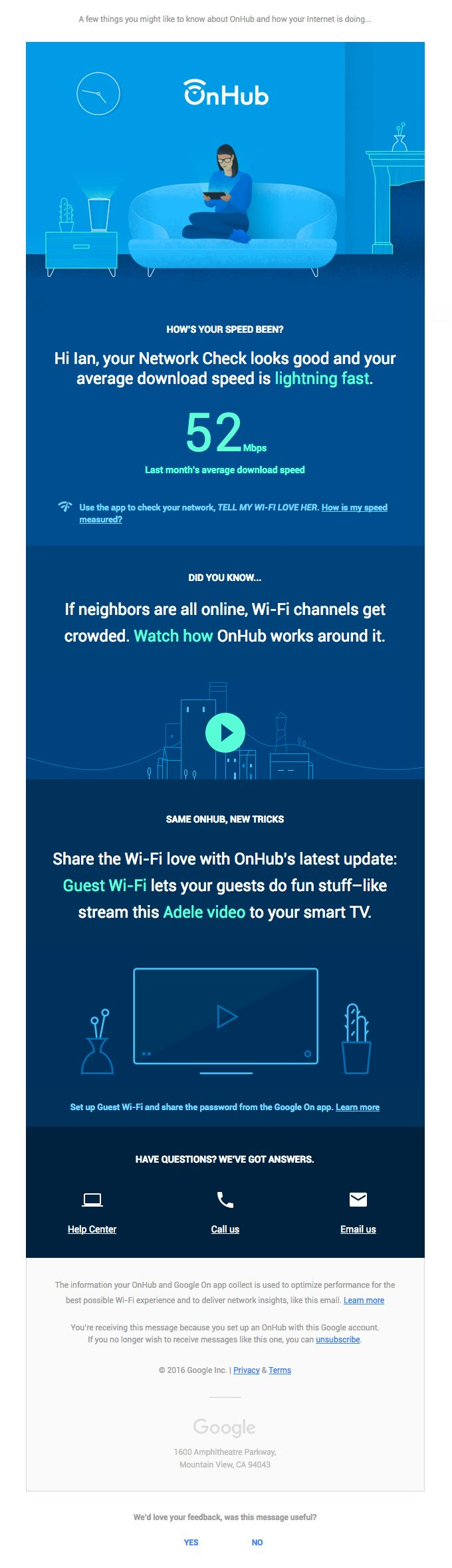 Hello from OnHub! Want to see how fast your Internet speed is? - Really Good Emails