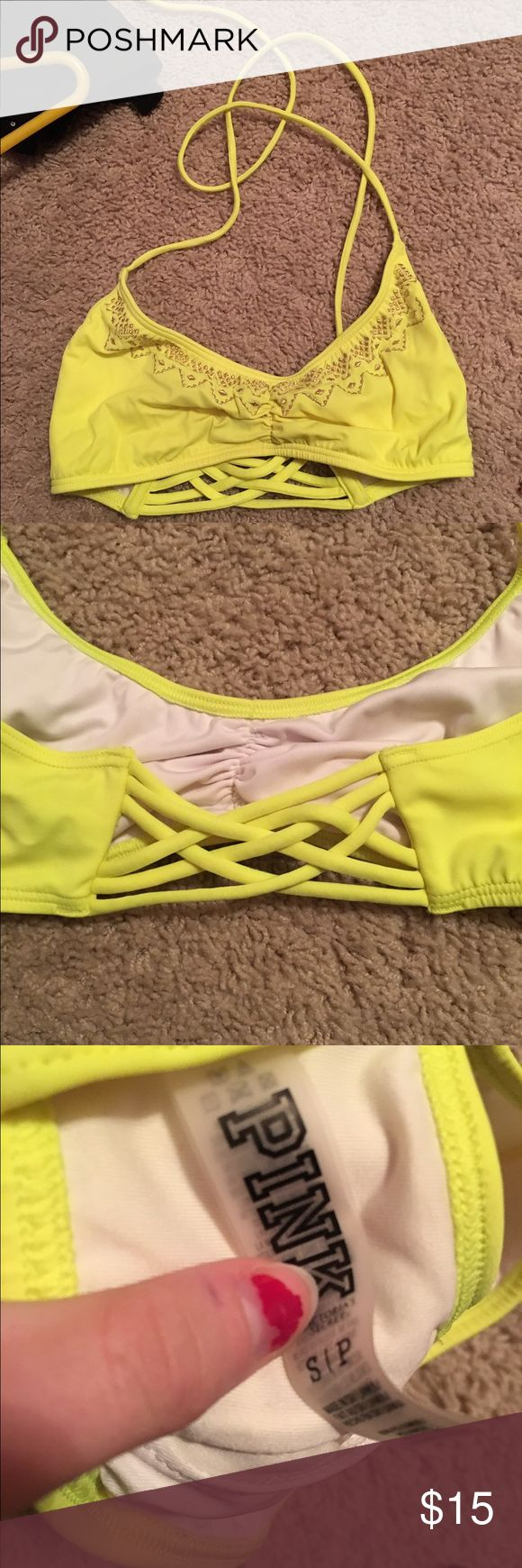 Tell and gold print tie halter beck cut out back Tell and gold print tie halter beck cut out back PINK Victoria's Secret Swim Bikinis