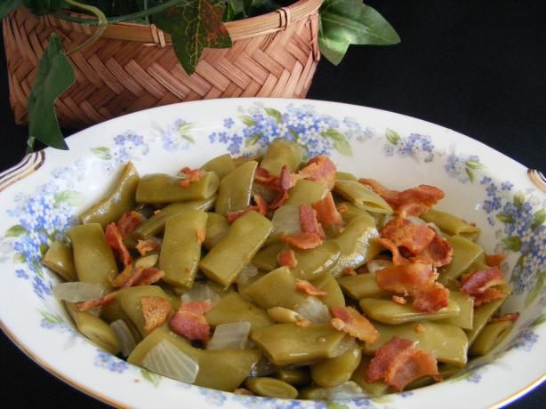Italian Green Beans from Food.com:   								BEST GREEN BEANS EVER!!!  These beans are also known as Kentucky Wonders.  They were the variety that my father always grew in our garden and are of the flat bean type.  They have flavor galore!  I have included a photo of the cans to show the brand and kind to purchase.  A dish is always included on the menu at our family gatherings and are looked forward to.