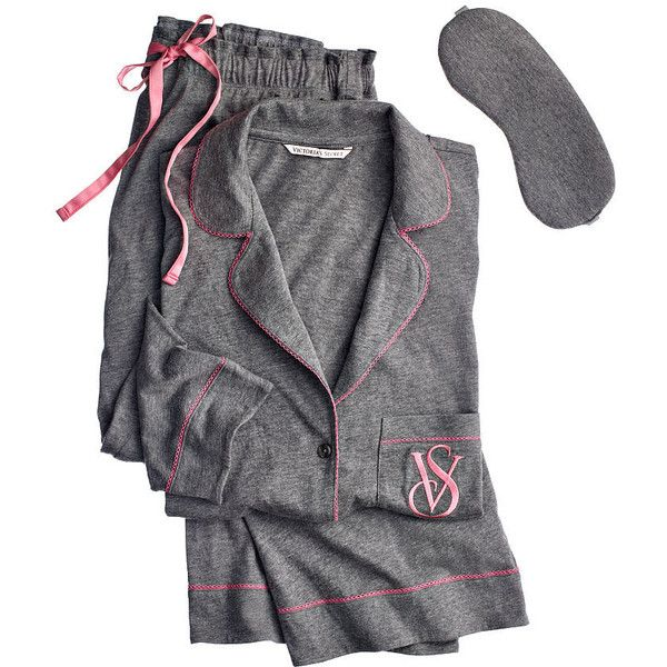 Victoria's Secret The Sleepover Knit Pajama (95 BAM) ❤ liked on Polyvore featuring intimates, sleepwear, pajamas, striped pjs, striped pyjamas, victoria secret sleepwear, long pajamas and tall pajamas