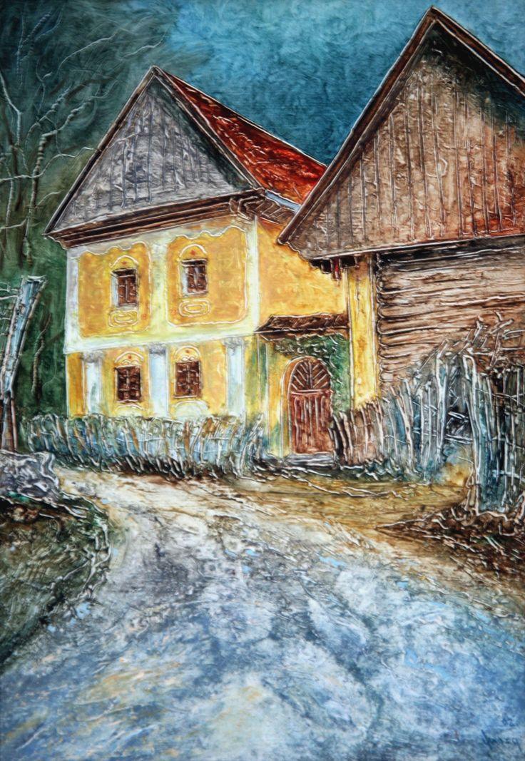 Pavel Móza - Vyšehradné - Múzeum ľudovej kultúry, olej, 2002, 41x29 cm, cena - 600€
