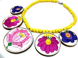 Hand embroidered design necklace by Andrea Macsar http://www.h-art.com.au/#!necklaces/c1y06