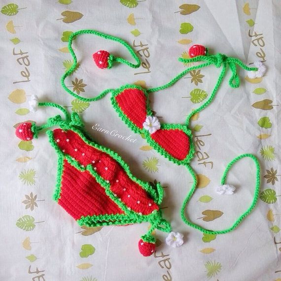 Strawberry beach bikiniCrochet baby by EarnCrochet on Etsy