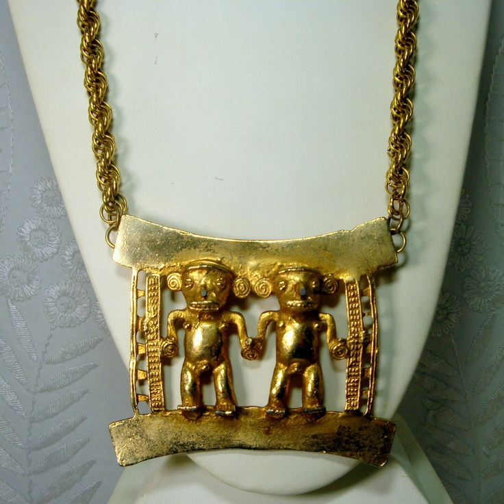 Gold Statement Necklace, El Dorado Gold Gods BIB on Thick Gold Chain, Ecochic Recycled, , Mayan Incan Pendant, OOAK. $64.00, via Etsy.