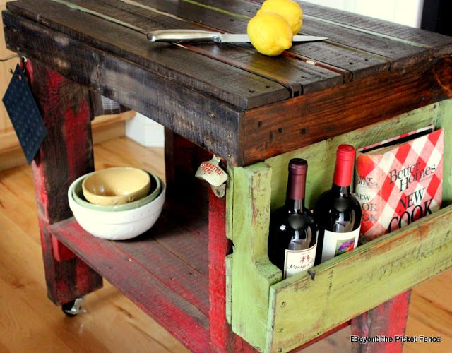 DIY::Pallet Kitchen Island... Hmm... we have a pallet sitting at our house right now......