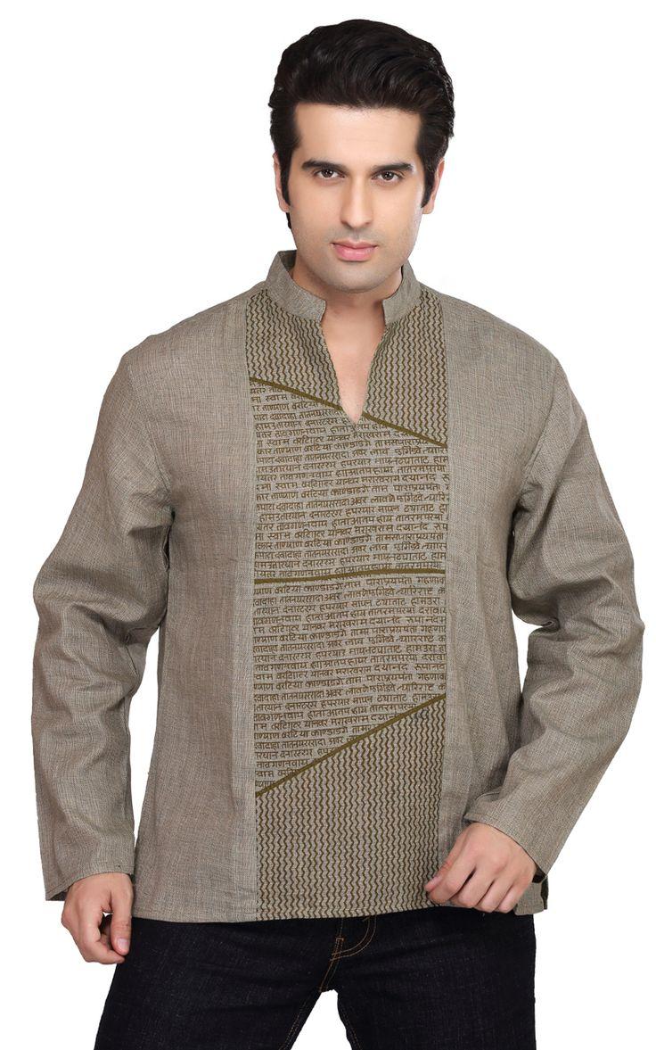 In-Sattva - Shatranj Men's Kurta Tunic Banded Collar Decorative Front Shirt, $34.99 (http://www.insattva.com/men/shatranj-mens-kurta-tunic-banded-collar-decorative-front-shirt/)