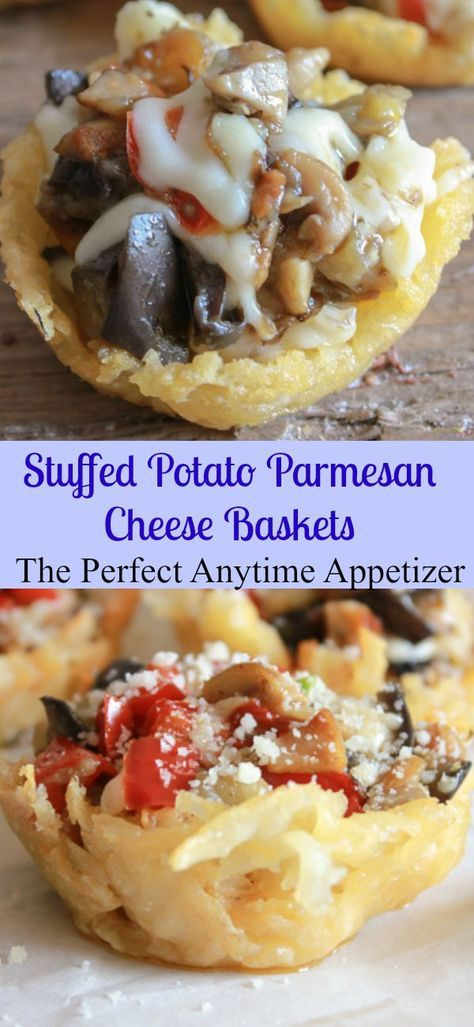 Stuffed Potato Parmesan Cheese Baskets, the perfect healthy, fast and easy year round appetizer recipe. Fill with your favorite veggies/anitalianinmykitchen.com?utm_content=buffer8effc&utm_medium=social&utm_source=pinterest.com&utm_campaign=buffer…