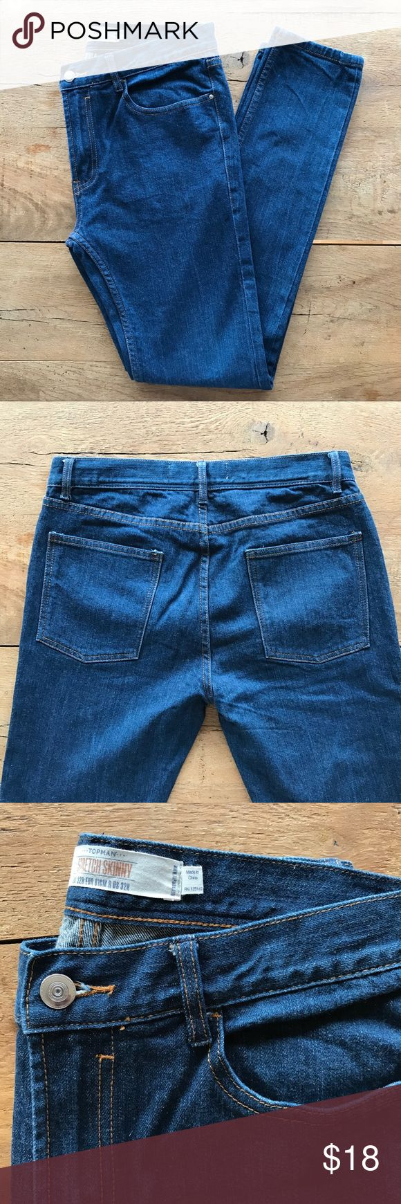 """Topman Stretch Skinny Jeans Topman """"stretch skinny"""" jeans. 31"""" inseam, 12"""" ankle opening, 10"""" rise, zip fly. 99% cotton, 1% elastase. Great used condition. Topman Jeans Skinny"""