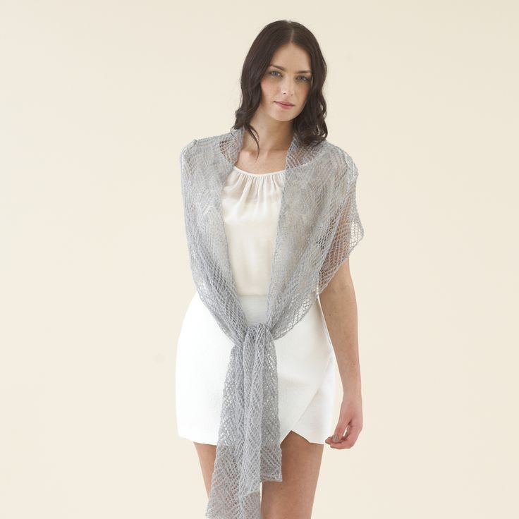 Gorgeously oversized scarf knitted in luxe Grey Fume - Sublime Extra Fine Merino Lace