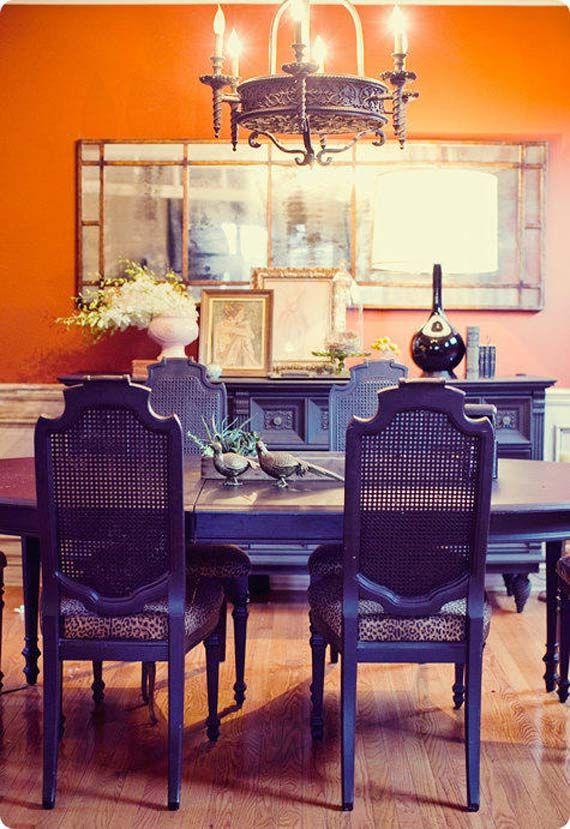 : Interior Design, Dining Rooms, Idea, Orange Dining Room, Diningroom, Purple Chair, Orange Walls