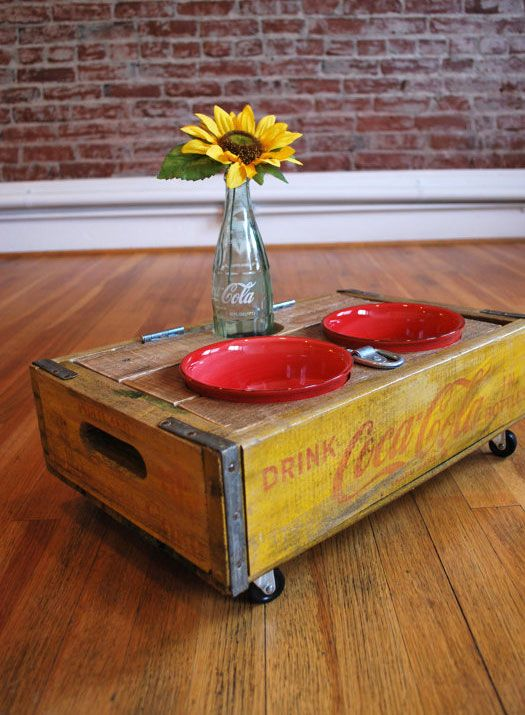 Upcycled Coca-Cola crate pet feeder