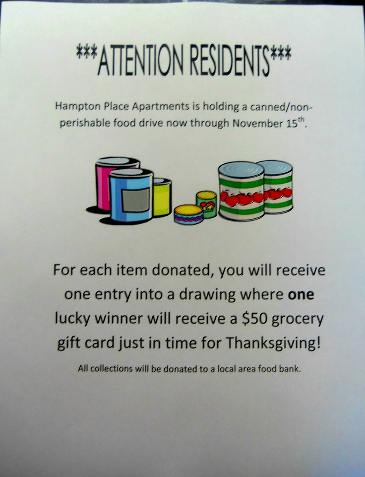 Canned Food Drive Food drive, Grocery gift card, Food pantry