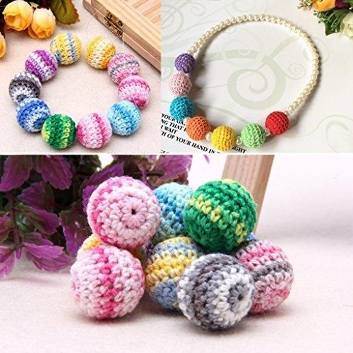 Lulujan Wooden Crochet Round Beads 20mm Teethers For Baby Teething Jewelry Making Handmade Decor Thanksgiving Christmas Gift 10-Pack