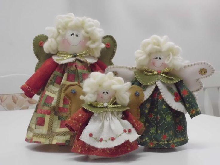 Trio de Anjos Natalinos   Teteca Bonecas   Elo7