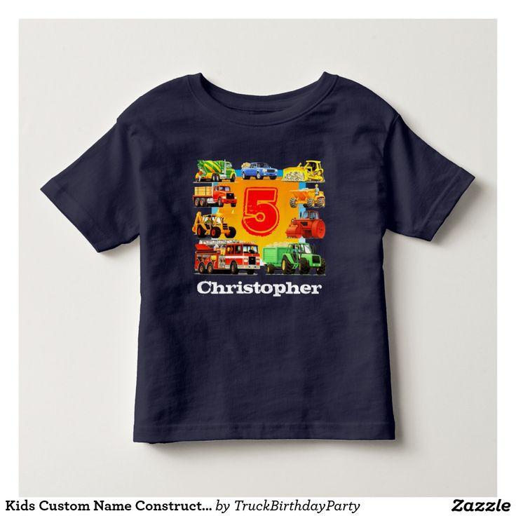 Kids Custom Name Construction Truck 5th Birthday Shirt