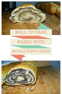 Baigli / Beigli with nuts and poppy seeds. Decliciuos easy homemade recipe for roll up cake.
