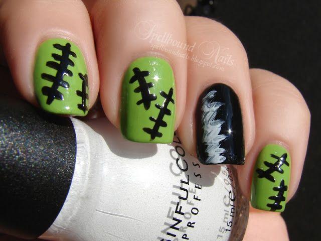 nails nailart nail art polish mani manicure Spellbound Nail-Aween Halloween Challenge Frankenstein Bride of hair black white green stitched ...