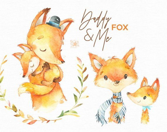Daddy Me Fox Watercolor Animals Clipart Father Hugs Father S Day Family Invite Floral Bubbles Wreath Baby Shower Nursery Art Tiere Clipart Zeichnungen Aquarell Tiere