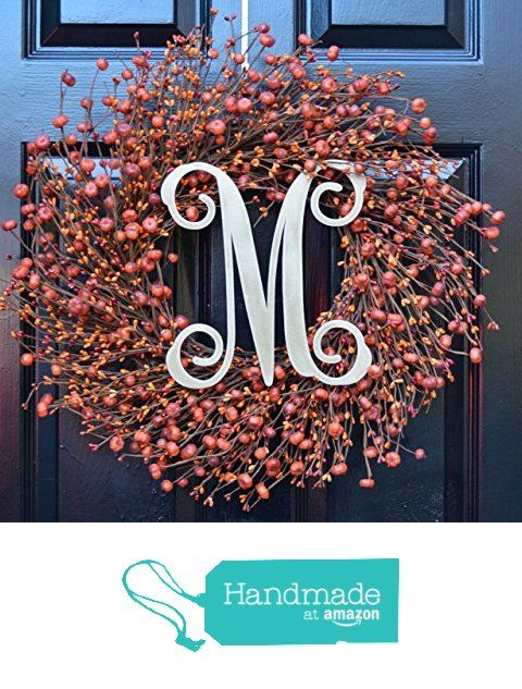 Elegant Holidays Handmade Fall Pumpkin Berry Wreath w/ Monogram, Decorative Front Door to Welcome Guests- Outdoor or Indoor Home Accent Décor- Great for Autumn, Thanksgiving & Halloween- 16-24 inches from Elegant Wreath